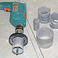 Как сделать отверстие в плитке под трубу