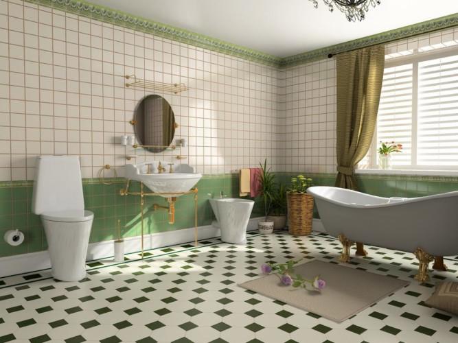 Облицовка ванной комнаты квадратной плиткой
