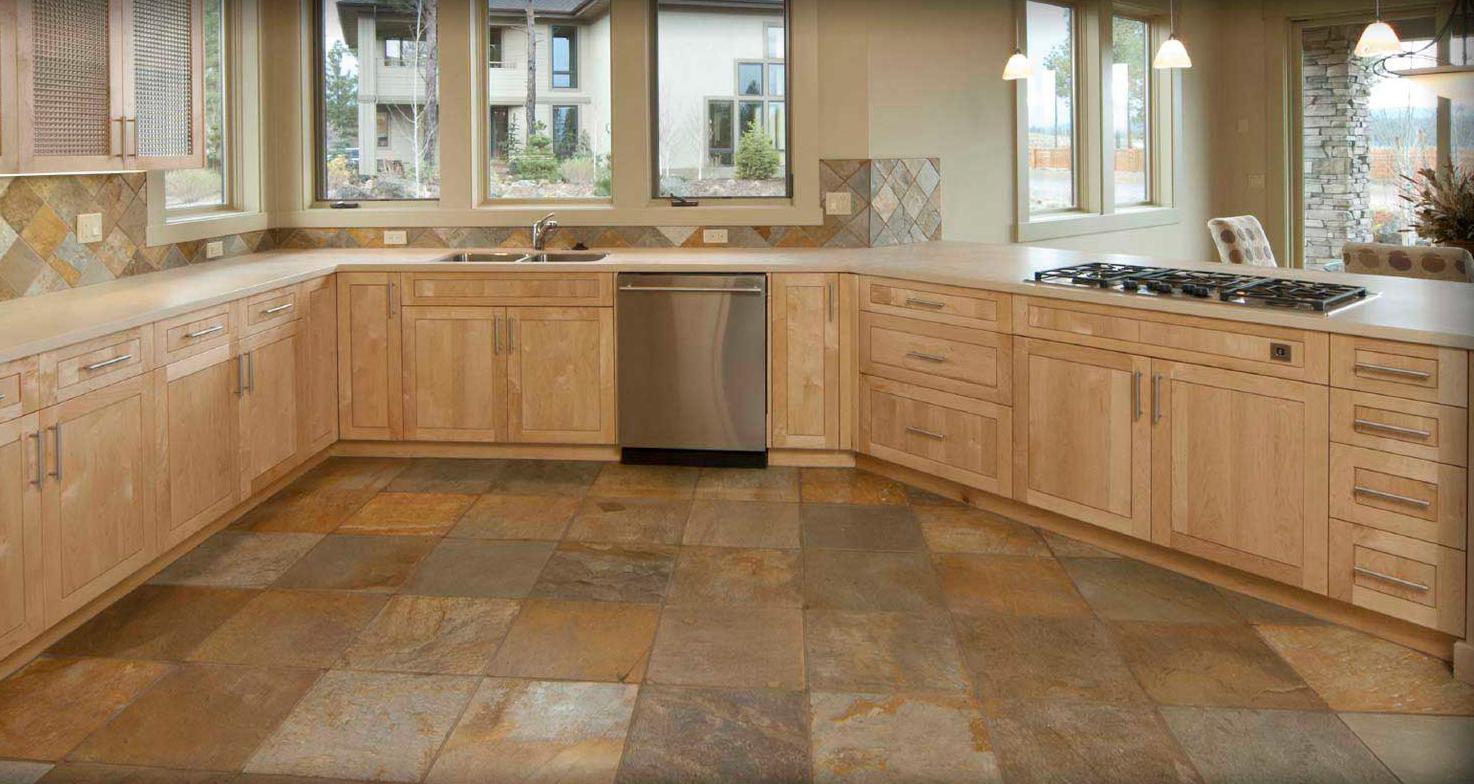 плитка на кухне на пол фото
