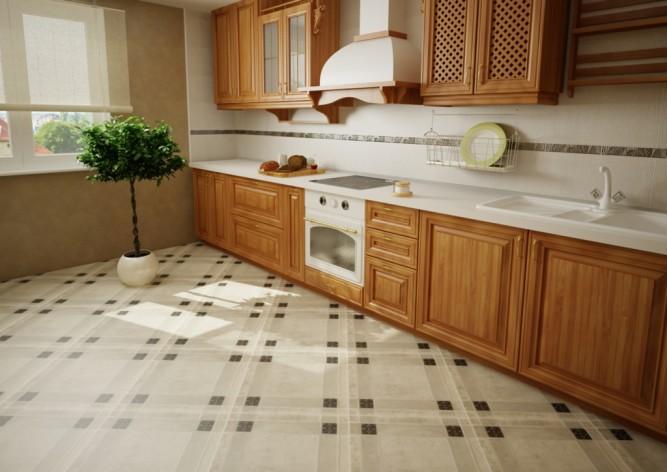 Интерьер кухни с напольной плиткой