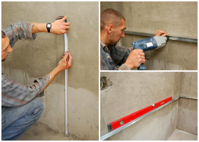 Крепление опорной планки для укладки плитки