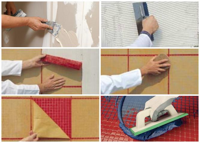 Этапы укладки мозаики на бумажной основе
