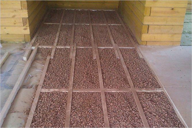 Заполнение керамзитом пустот между лагами деревянного пола