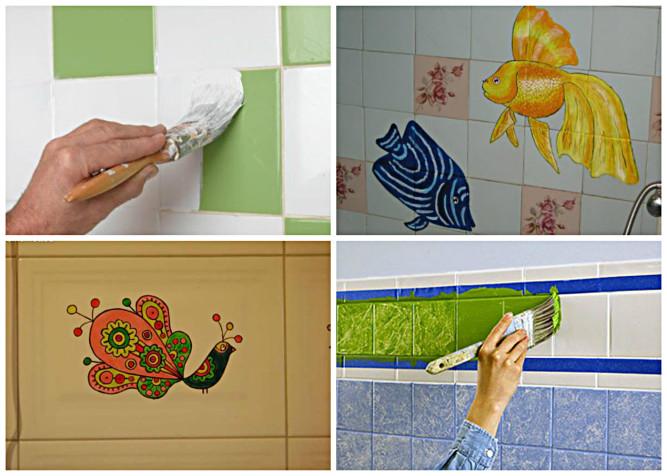 Как покрасить плитку на кухне