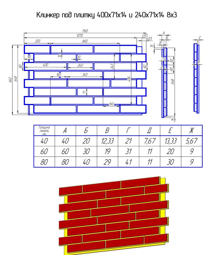 размеры клинкерного кирпича фасадный