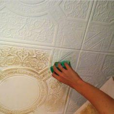 Покраска потолка из пенопласта